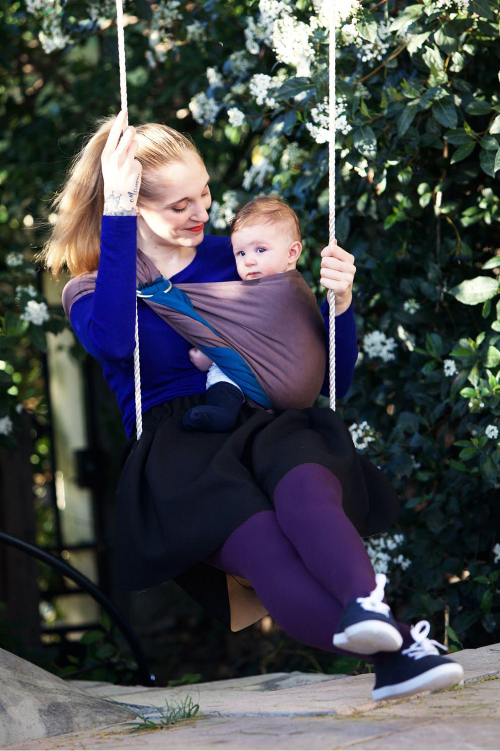 0c2a4002f548 Petite écharpe sans nœud (PESN) – Bleu canard, marron glacé sans pad – Love  Radius par Je porte mon bébé (JPMBB)
